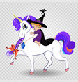 cute baby witch girl riding beautiful magical vector image vector image