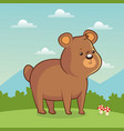 cute bear animal with landscape vector image vector image