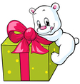 cute polar bear unwrapping gift vector image