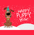 dog new year flyer with snow vector image vector image