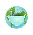 earth planet with medical mask vector image