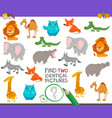find two identical animals game for children vector image vector image