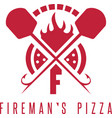firemans pizza concept with oven and peels vector image vector image