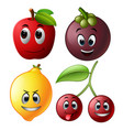fresh fruit with face vector image vector image