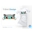 funny cat print on t-shirts sweatshirts cases vector image vector image