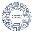 garbage removal promo monochrome emblem with vector image