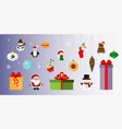 gifts and toys christmas and new year sticker vector image vector image