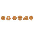 ginger bread cookies figured biscuits with white vector image