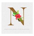 golden letter n watercolor floral background vector image