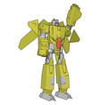 grey and yellow robot white background vector image vector image