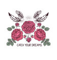 hand drawn boho style design with rose flower and vector image vector image