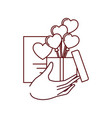hand with box and gift list isolated icon vector image vector image