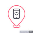heart smartphone pin map icon telephone call vector image