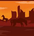 horses on desert vector image