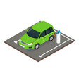 isometric electric car charging at charger vector image