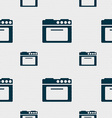 kitchen stove icon sign Seamless pattern with vector image vector image