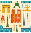 Landmarks of France colorful seamless pattern vector image vector image