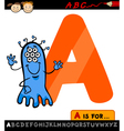letter a with alien cartoon vector image vector image