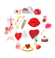love cartoon icons set vector image vector image
