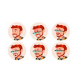 man avatar people comic emotions red head vector image