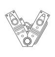 mechanical letter v engraving vector image vector image