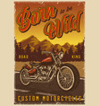 motorcycle vintage colorful poster vector image vector image