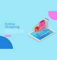 online shopping banner with isometric shop cart vector image