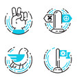 peace outline blue icons love world freedom vector image vector image