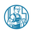plumber with adjustable wrench vector image