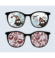 Retro sunglasses with winter owls reflection vector image vector image