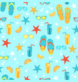 seamless background with bright summer symbols vector image vector image