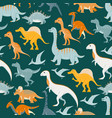 seamless pattern with flat cartoon dinosaurs vector image vector image