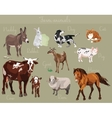 set of different farm animals vector image