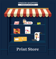 Shop of print productions vector image vector image