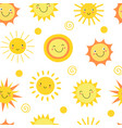 sun seamless pattern summer hot weather sunshine vector image vector image
