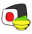 Sushi roll icon cartoon