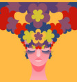 womans head with flowers instead of hair vector image vector image