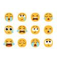 yellow crying emoji faces vector image vector image