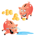 Set of emotions cartoons piggy bank and money vector image