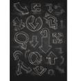 Set Of Hand Drawn Doodle Arrows On Blackboard vector image