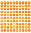 100 construction site icons set orange vector image vector image