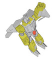 a grey and yellow robot white background vector image vector image