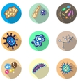 Bacteria microorganism and virus cells icons set vector image