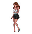 beautiful brunette in white t-shirt and mini skirt vector image vector image