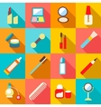 Beauty cosmetics icons set flat style vector image vector image