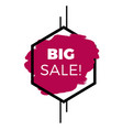 big sale hexagon frame purple background sale bann vector image