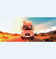 big semi truck trailer driving on coutryside road vector image vector image