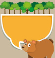 Border design with bear and tree vector image vector image