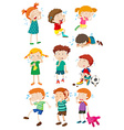 Boys and girls crying vector image vector image