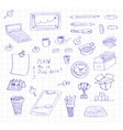 business and office icon doodles vector image